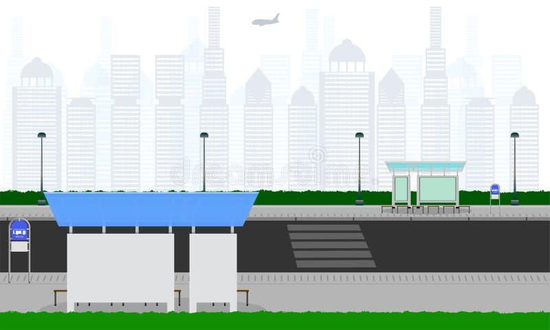 室外横跨在城市公交车站驻地atm容器杆灯标志水平的传染媒介例证eps10的路 库存例证