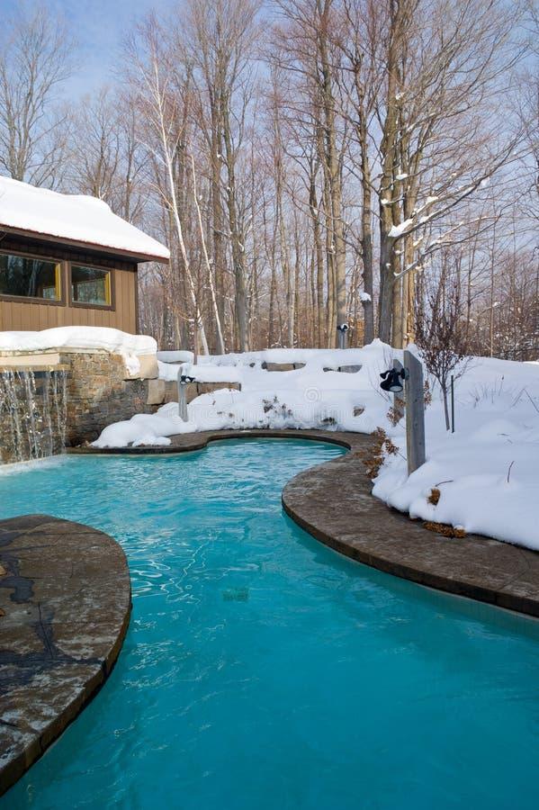 室外池冬天 免版税图库摄影