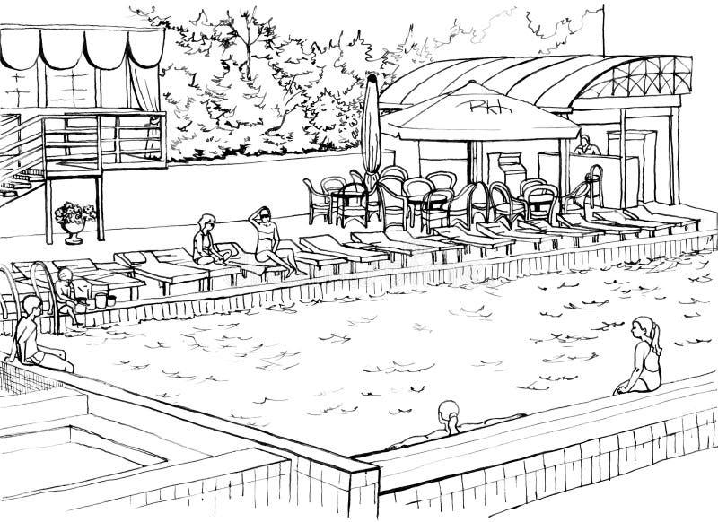 室外游泳池在一家高级旅馆 库存例证