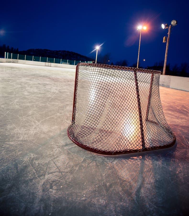 室外溜冰场曲棍球网 免版税库存照片