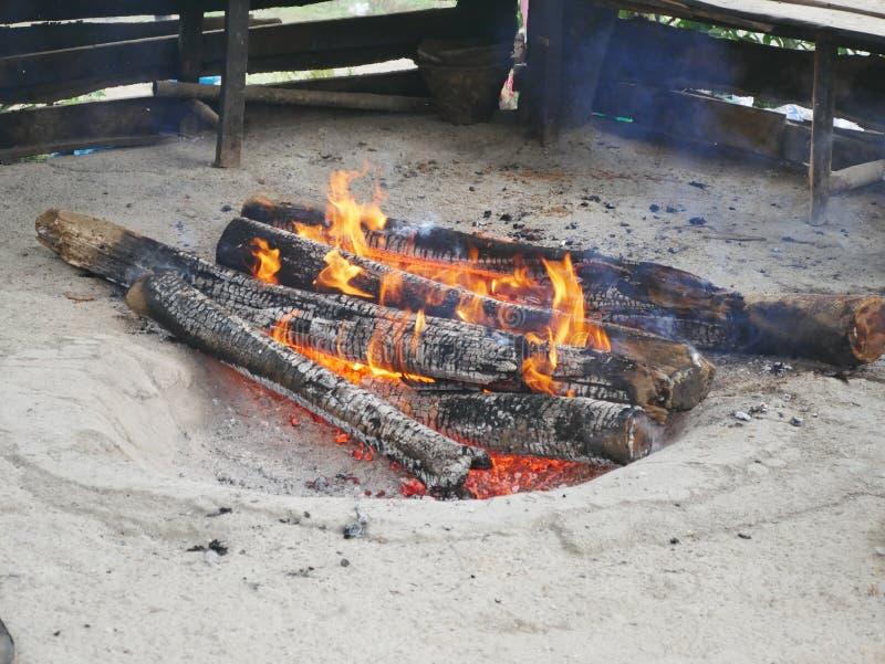 室外火坑在拉姆萨尔,伊朗 免版税库存照片