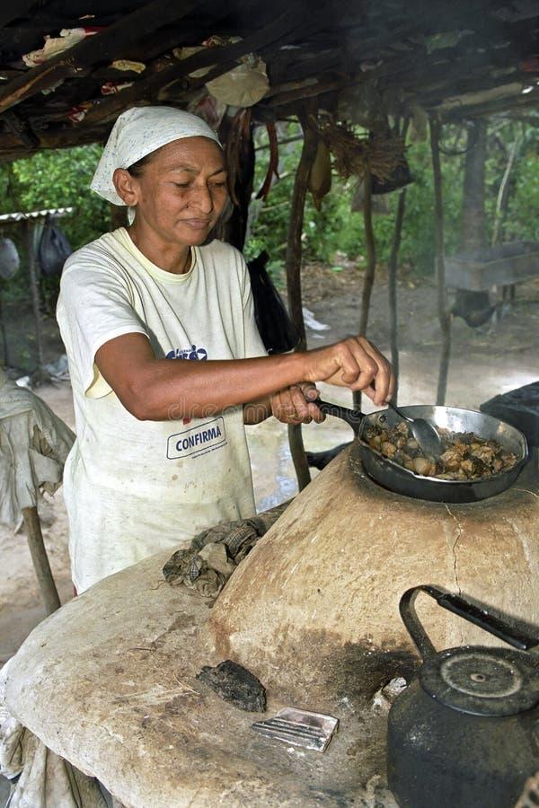 室外烹调资深妇女,巴西画象 免版税库存图片