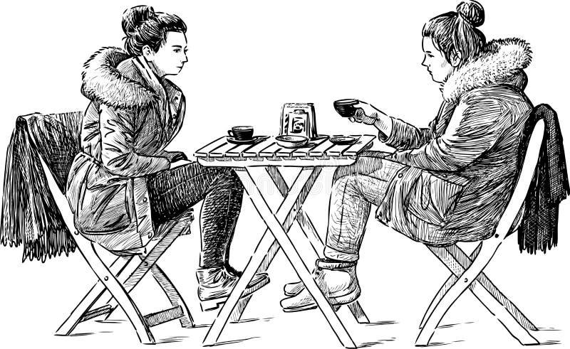 室外的咖啡馆 向量例证