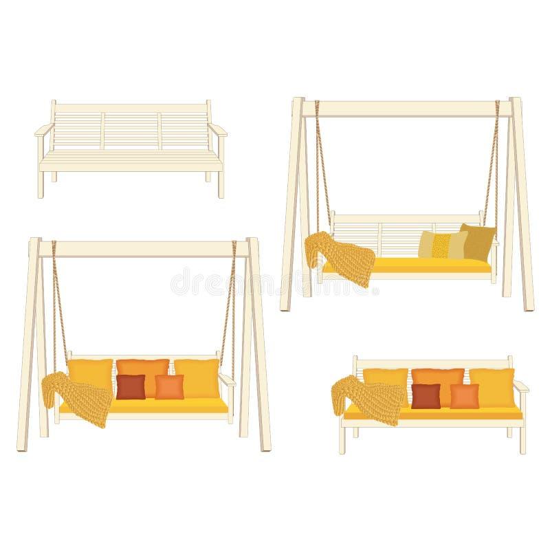 室外经典木摇摆和长凳,绘在白色颜色 庭院放松家具,在白色背景的例证 库存例证