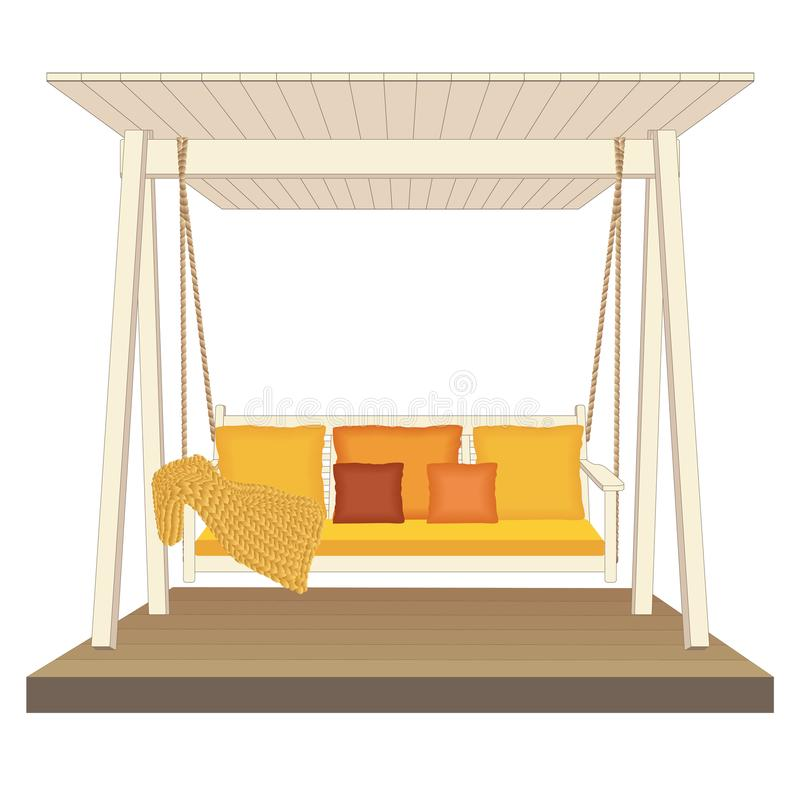 室外经典木摇摆,绘在白色颜色 庭院放松家具,在白色背景的例证 库存例证