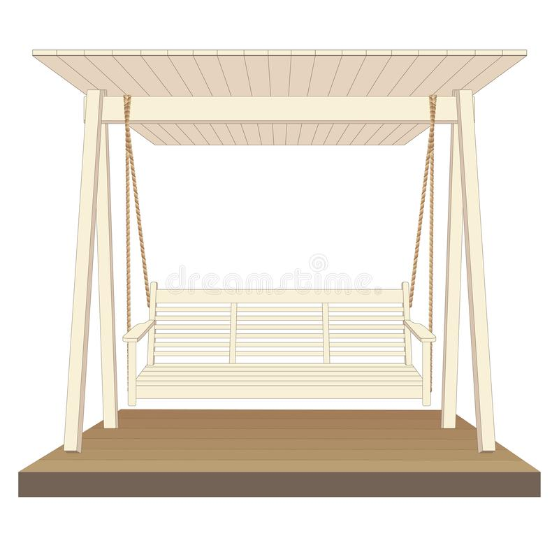 室外经典木摇摆,绘在白色颜色 背景例证鲨鱼向量白色 库存例证