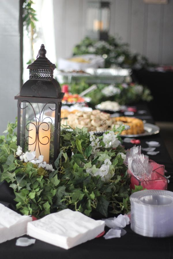 室外结婚宴会晚夏 库存图片