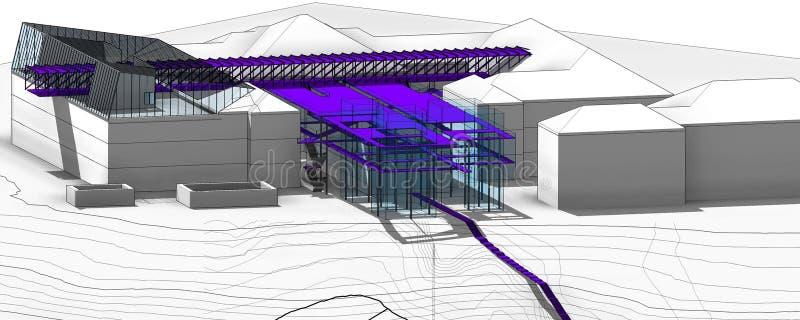 室外艺术和建筑学(概念项目)的国立学院的博物馆 向量例证