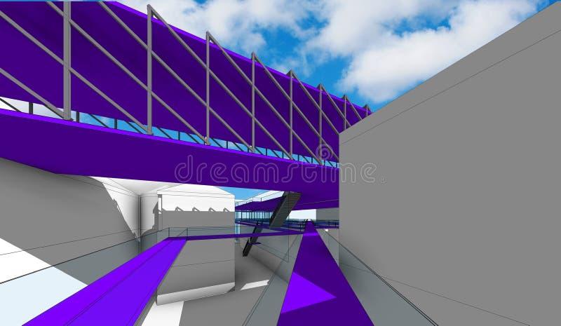 室外艺术和建筑学(概念项目)的国立学院的博物馆 库存例证