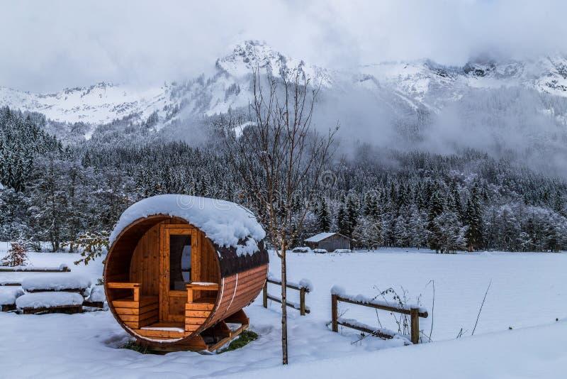 室外蒸汽浴在多雪的阿尔卑斯 免版税图库摄影