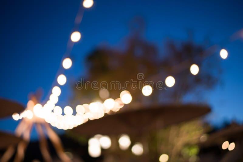 室外被弄脏的光装饰事件的节日 库存图片