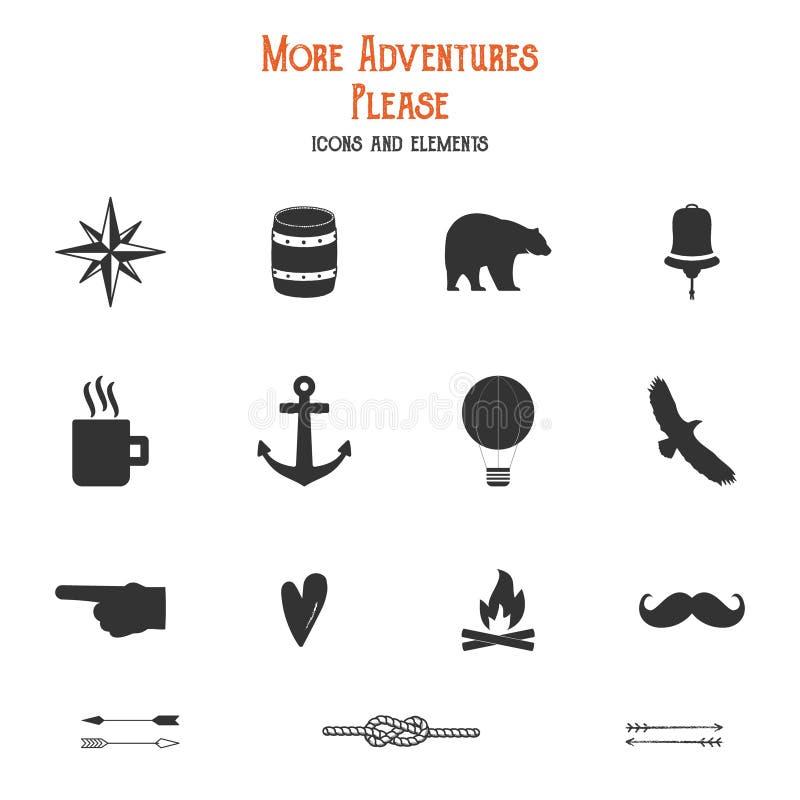 室外象和元素集远足的创作的,野营的商标其他设计 坚实平的传染媒介 旅行 库存例证