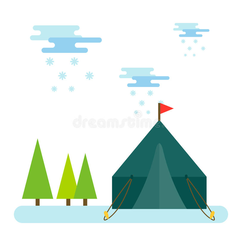 室外远足假期森林的帐篷传染媒介例证自然休闲旅行活动野营的阵营冒险旅游业 库存例证
