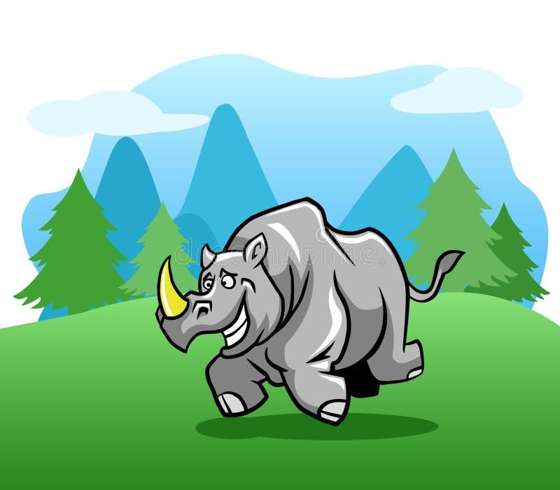 室外连续愉快的犀牛 库存例证
