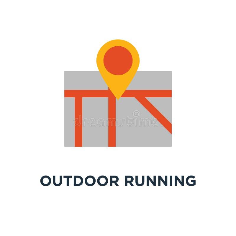 室外连续象 与旗子概念标志设计的足迹地图,循环的路线,乡下风景,体育活动传染媒介 库存例证