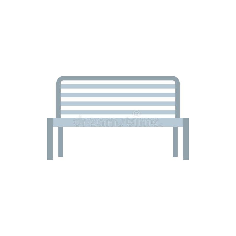 室外金属长凳象,平的样式 向量例证