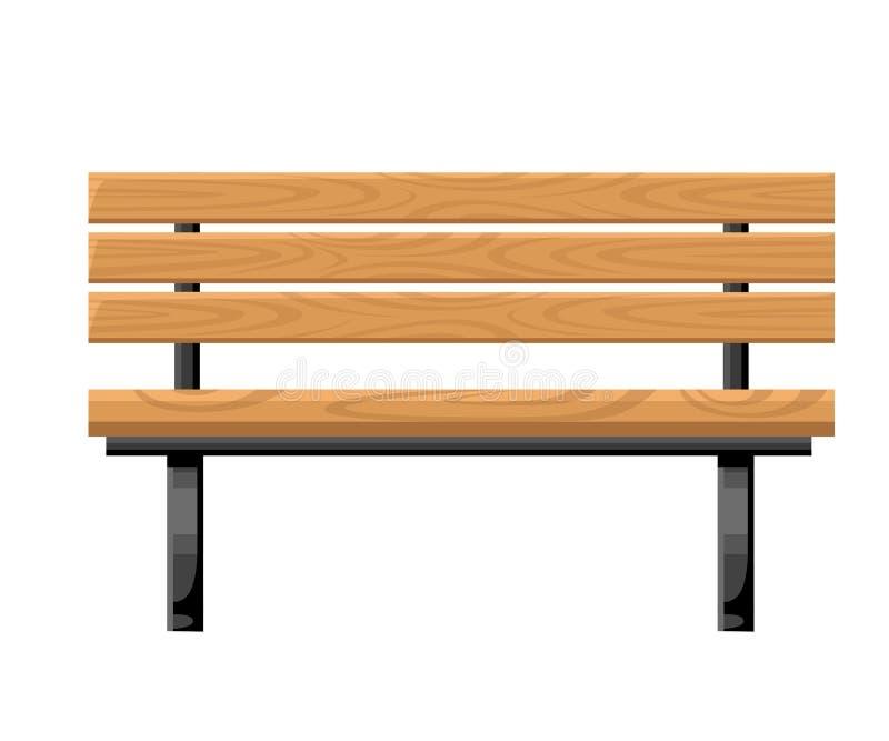 室外长凳金属和木正面图为在白色背景网站上和围场传染媒介例证反对隔绝的公园村庄 免版税库存照片