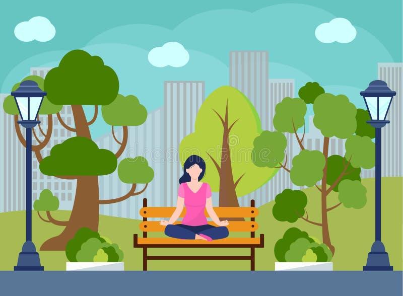 室外,eco瑜伽概念传染媒介 凝思、自我改善、控制头脑和情感,禅宗放松 向量例证