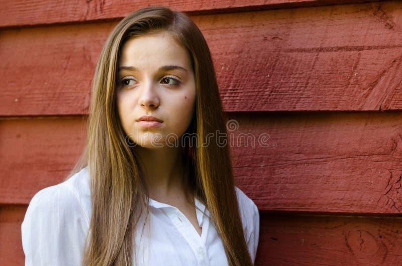 室外画象相当,青少年女孩 库存照片