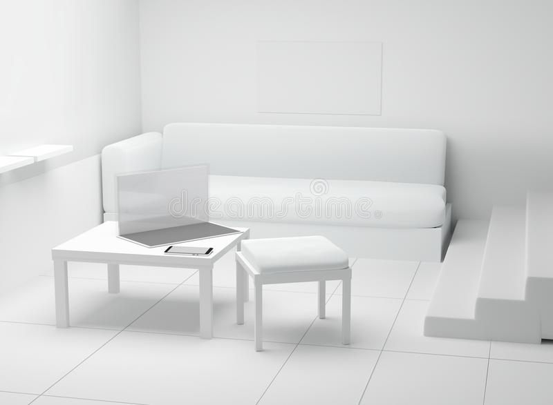 室室内与计算机笔记本和手机在前面 库存例证