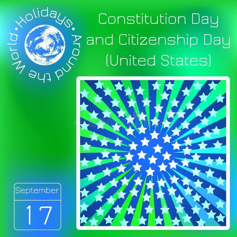 宪法天和公民日在美国 蓝色光芒,白色星 系列日历 假日环球 前夕 向量例证