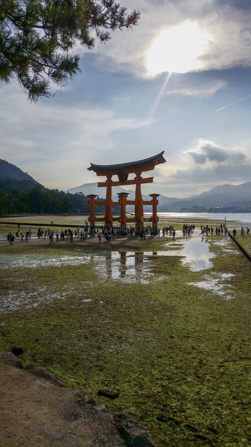 宫岛,日本,著名浮动Torii门在日本 免版税库存照片