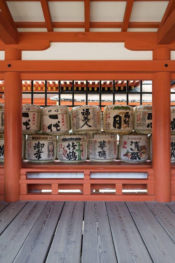 宫岛-日本, 2017年5月26日:在Th的传统缘故桶 免版税库存照片