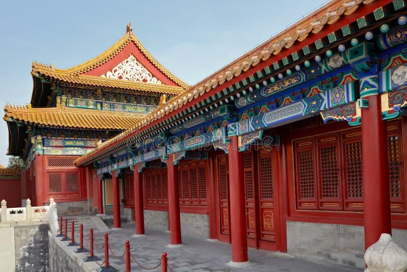 宫殿复杂在故宫,北京,中国的古老建筑学 免版税库存图片