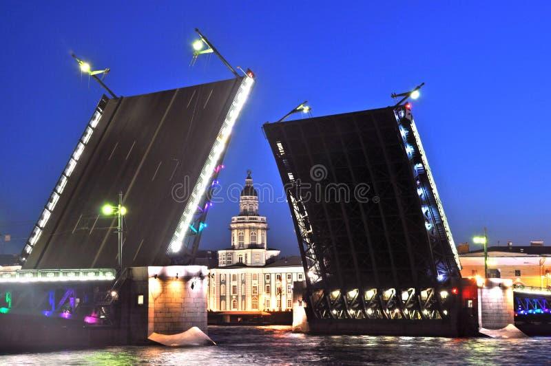 宫殿桥梁圣彼德堡 免版税库存图片