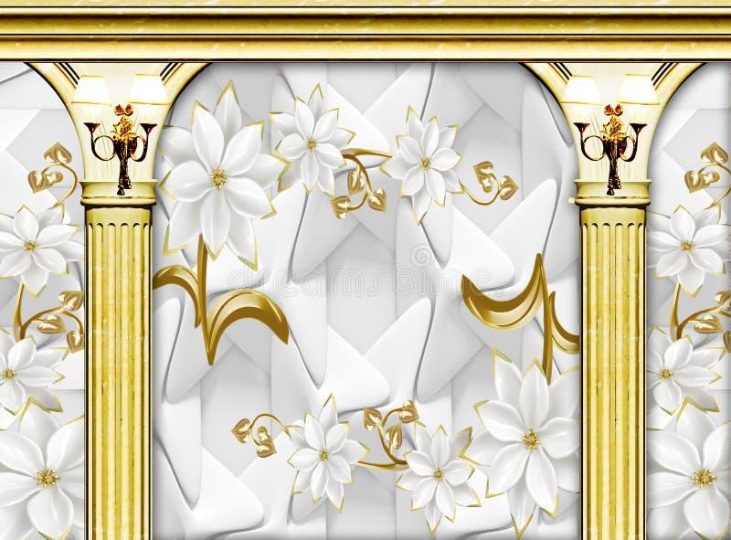 宫殿3d金黄专栏和花的内部有壁灯墙纸背景 向量例证