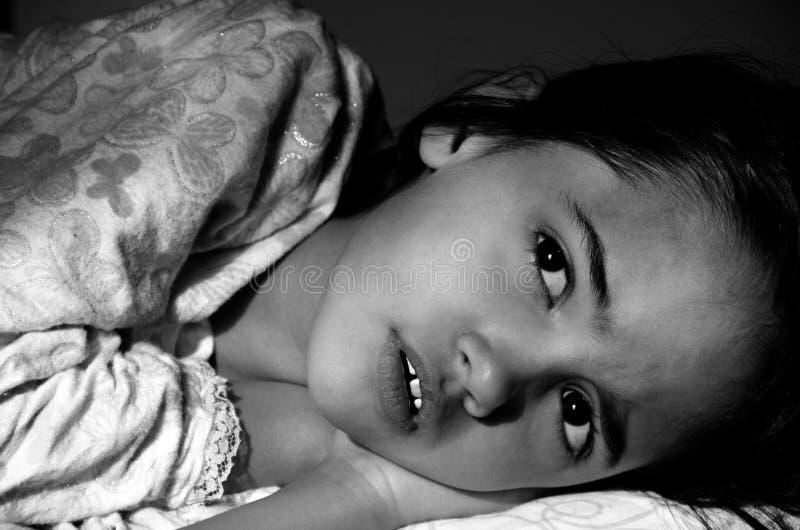 害怕女孩小的恶梦 库存照片