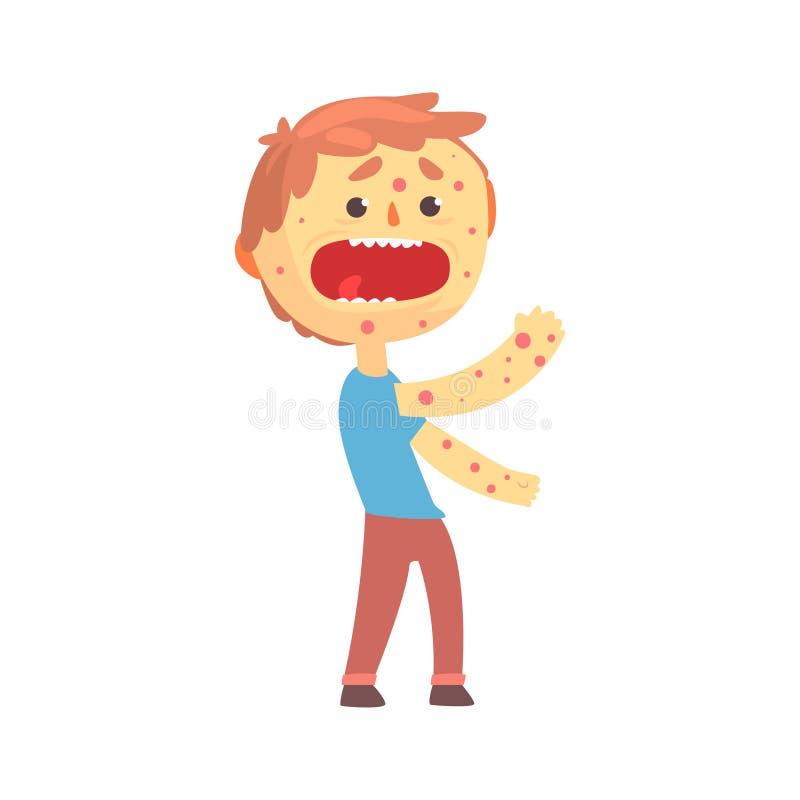 害怕男孩字符以在他的身体动画片传染媒介例证的疹 皇族释放例证