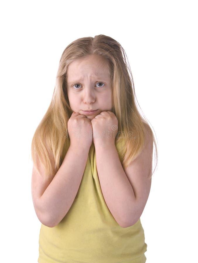 害怕的女孩哀伤 图库摄影