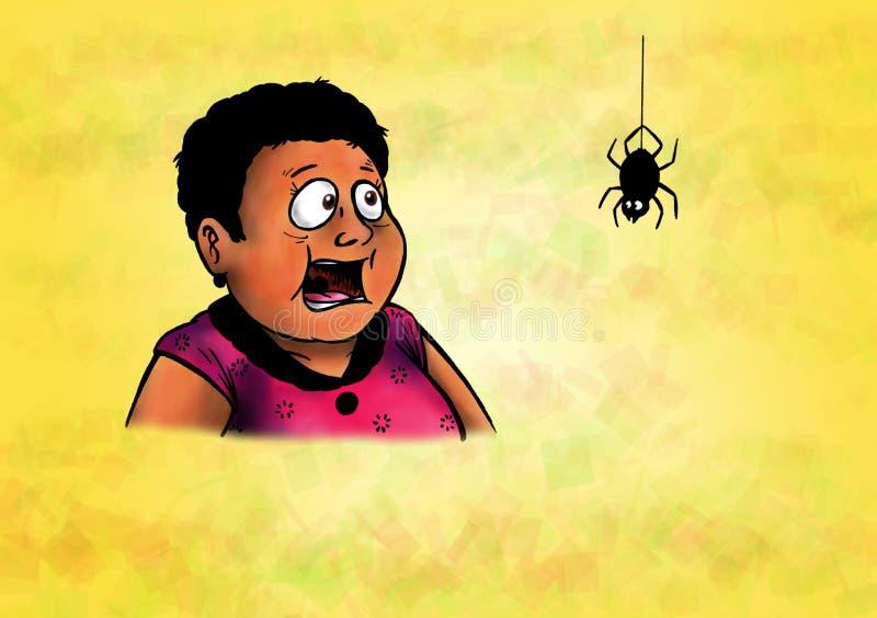 害怕的妇女和愉快的蜘蛛(2008) 库存图片