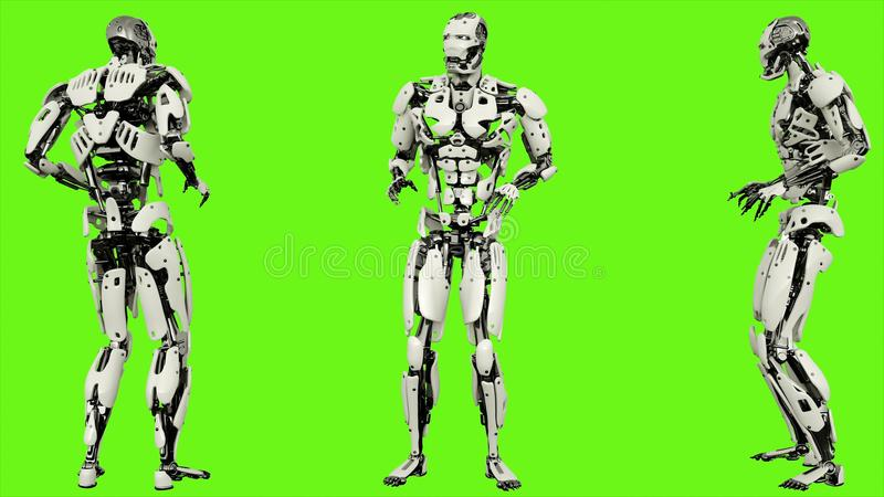 害怕的机器人机器人 在绿色屏幕上的现实行动 3d翻译 皇族释放例证