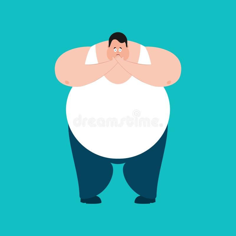 害怕的肥胖OMG 壮健人哎呀emoji 害怕大人 v 向量例证