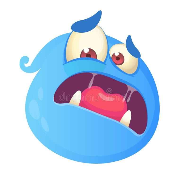 害怕的蓝色妖怪动画片面孔具体化 蓝色鬼魂吉祥人的传染媒介例证 万圣夜设计 库存例证