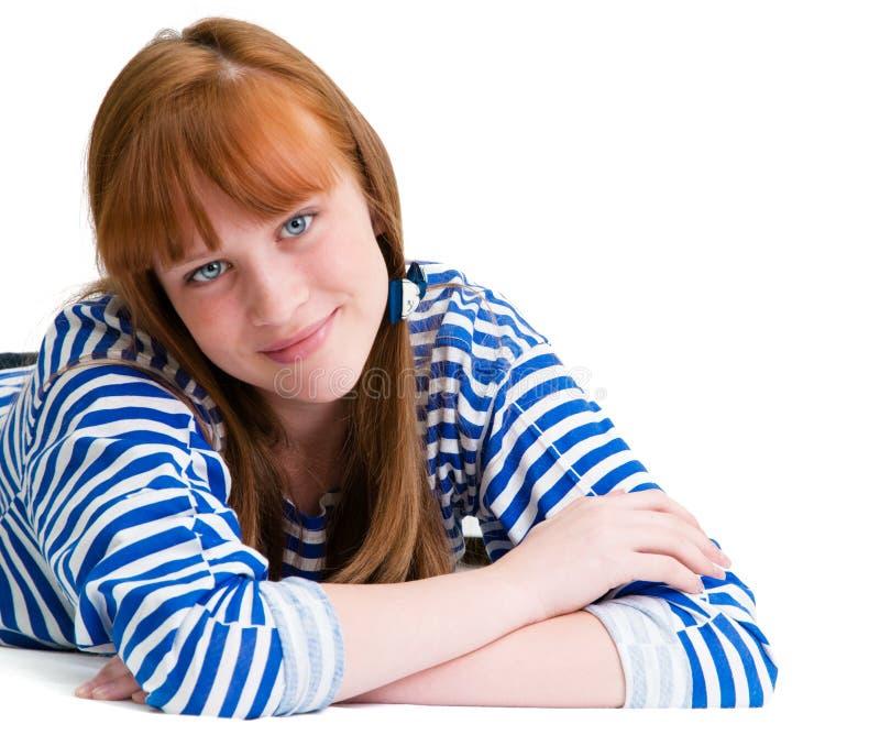 害怕表面女孩纵向惊奇的年轻人 夏天 库存照片