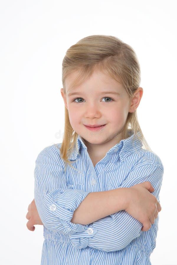 害羞儿童微笑 库存图片