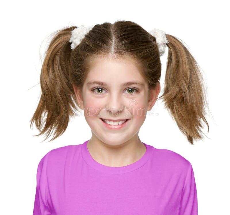 害羞和脸红的小女孩 免版税图库摄影