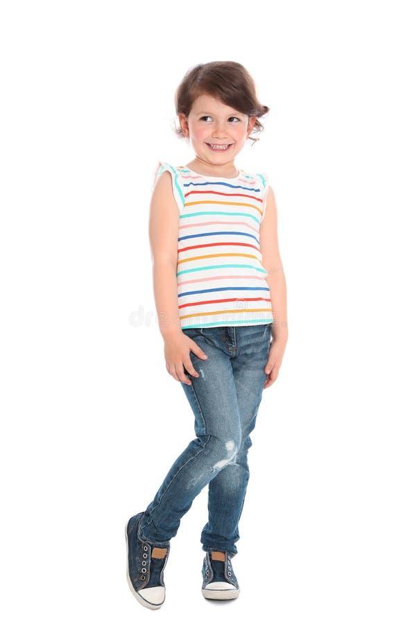害羞的女孩全长画象偶然成套装备的 免版税库存照片