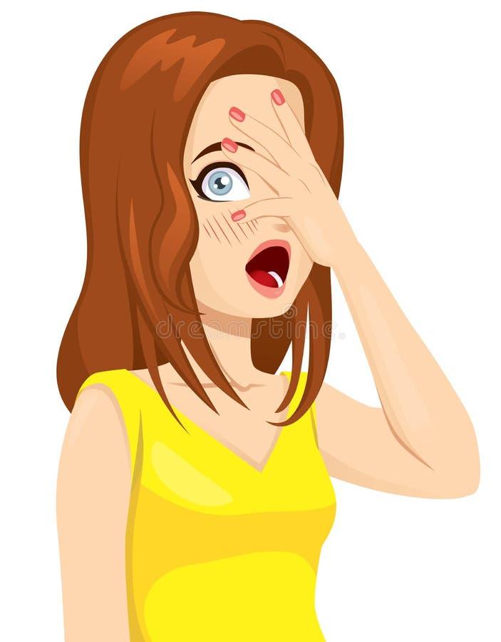 害羞的女孩覆盖物面孔 向量例证