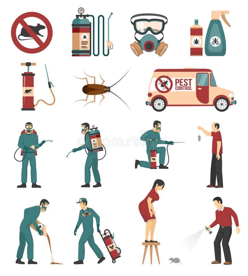 害虫控制提供清洁服务或膳食的公寓象汇集 向量例证