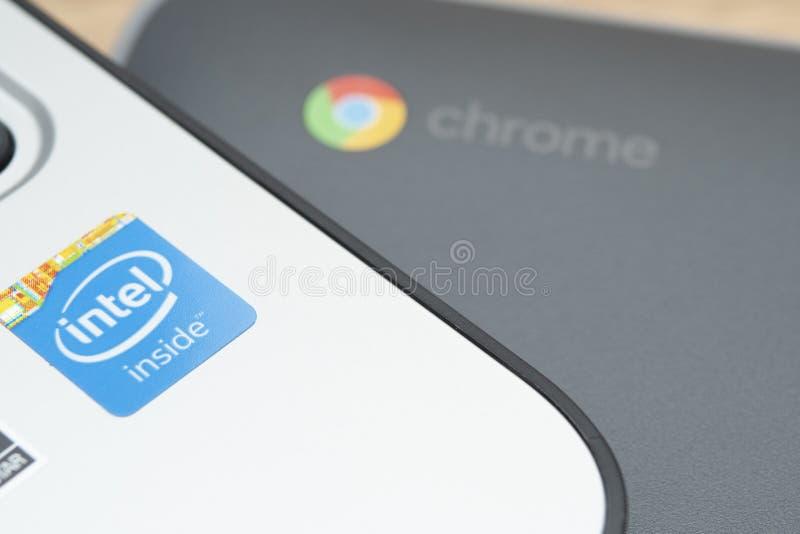 家中Chromebook的远程学习 库存照片