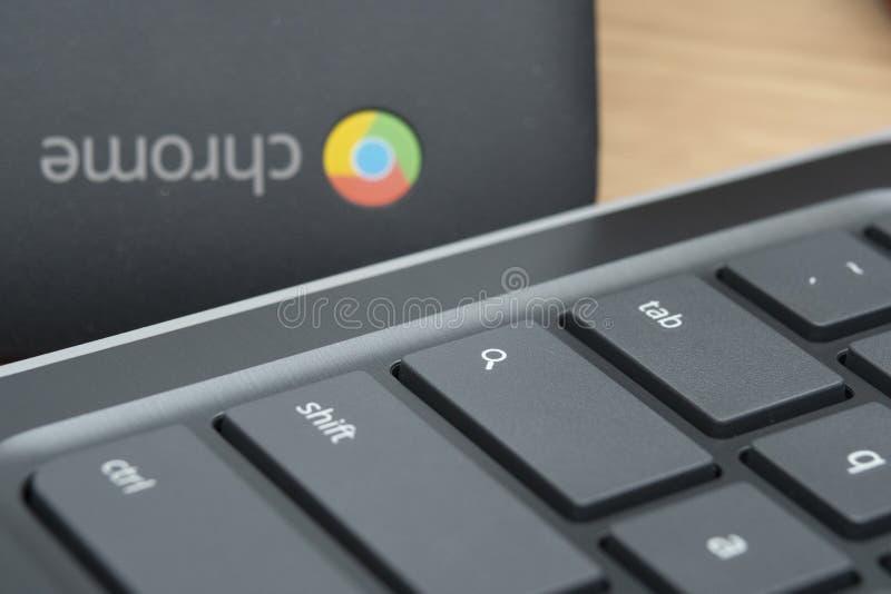 家中Chromebook的远程学习 图库摄影