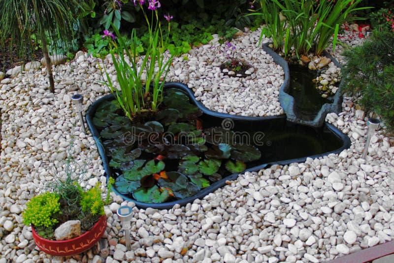 家做了有石头的池塘 免版税库存图片