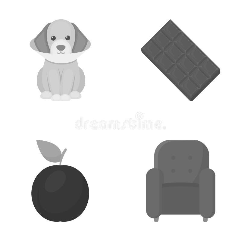 家具、休闲、事务和其他网象在单色样式 维生素,扶手椅子,软,在集合汇集的象 向量例证