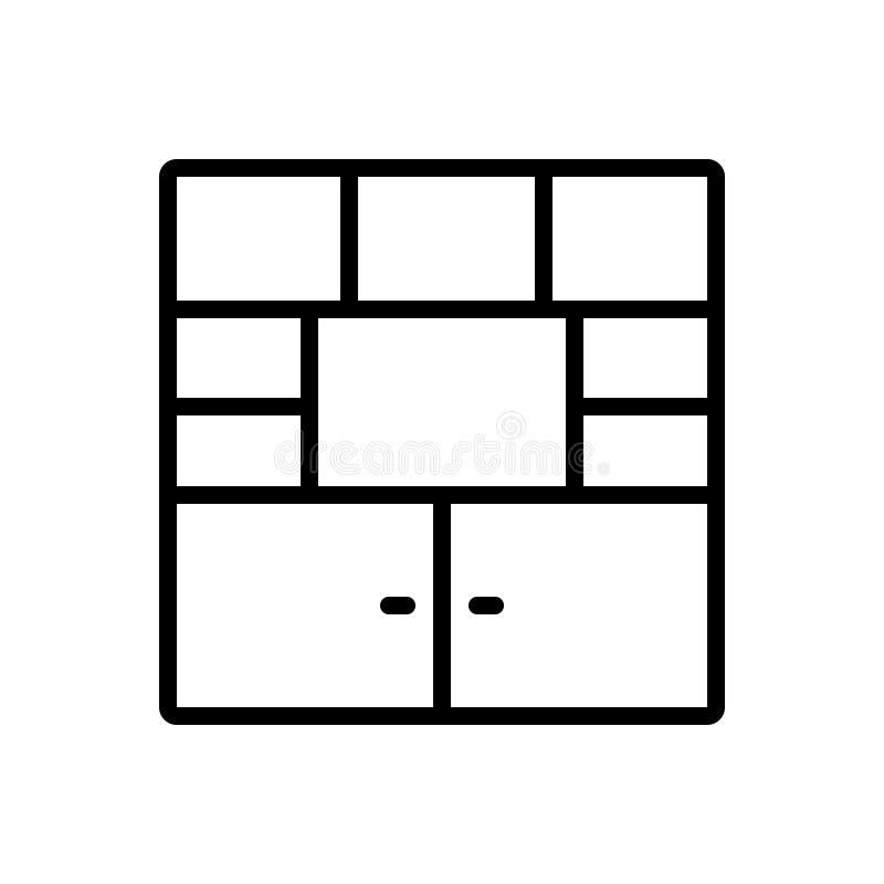 家具、碗柜和cabint的黑线象 向量例证