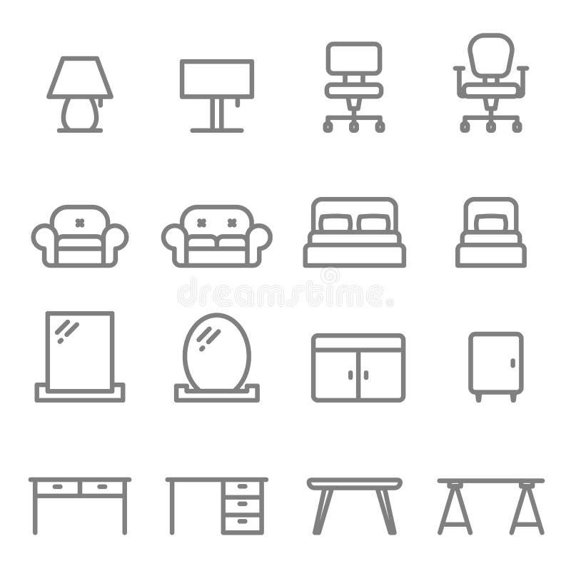 家具传染媒介线象集合 包括沙发,床,灯,椅子,镜子,桌,书桌 向量例证
