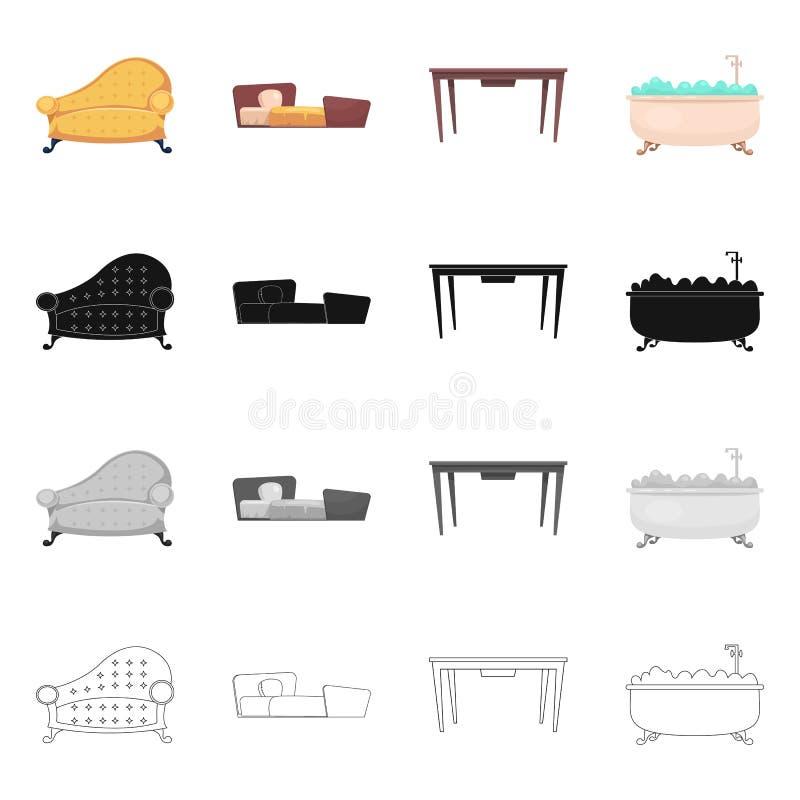家具和公寓商标传染媒介设计  套家具和股票的家庭传染媒介象 库存例证